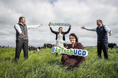 L to R: Shane Whelan - AIB, Nicky Deasy - The Yield Lab, Niamh Collins - AgTechUCD and James Moloney - Enterprise Ireland.