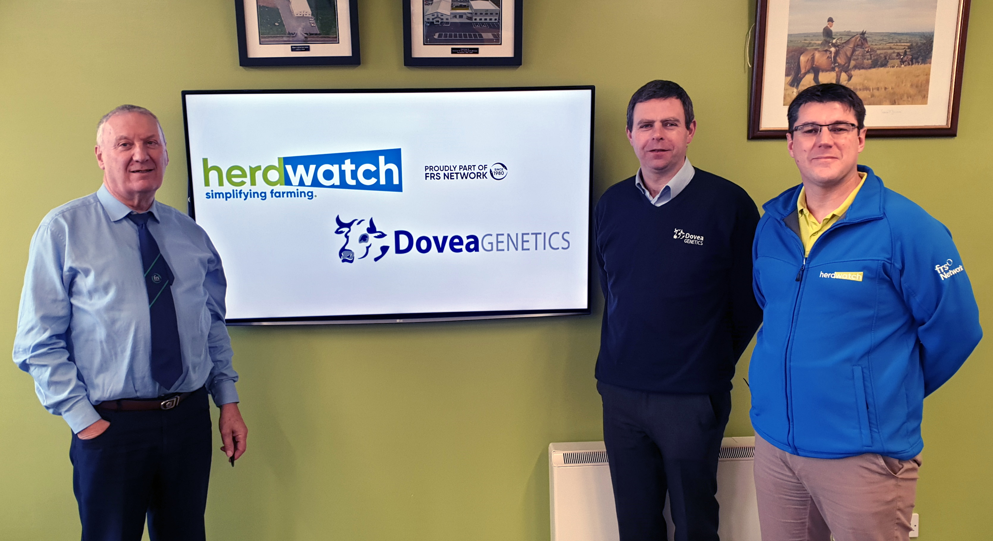 FRS Network CEO Peter Byrne, Dovea General Manager Dr Ger Ryan and Herdwatch CEO Fabien Peyaud