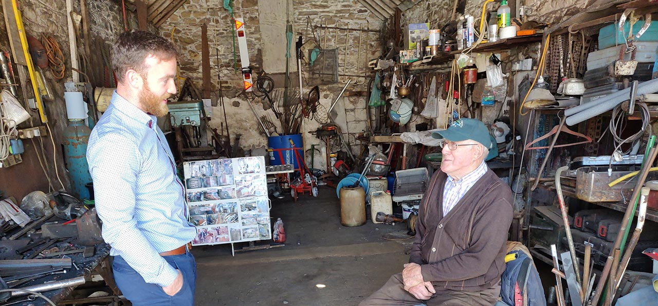 James Greevy (Herdwatch) and Tony Bergin in his workshop CROPPED